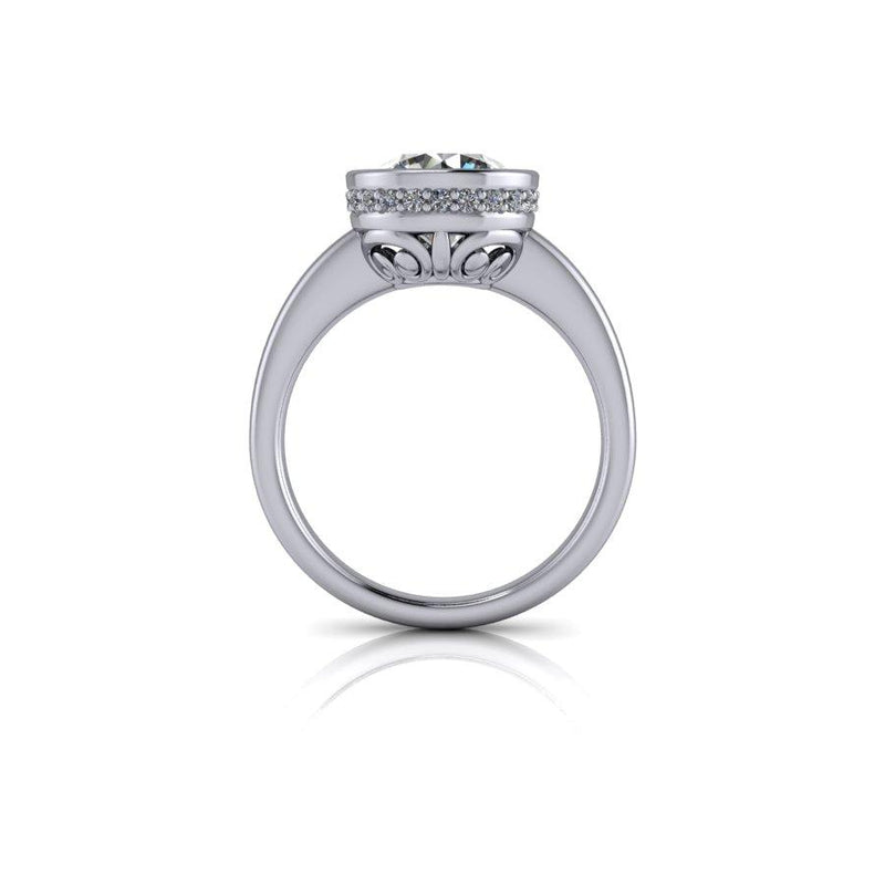 2.35 CTW Round Moissanite Bezel Set Engagement Ring, DEF Color-Bel Viaggio Designs