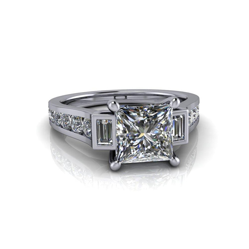 2.38 CTW Princess Cut Moissanite Cathedral Engagement Ring-Bel Viaggio Designs