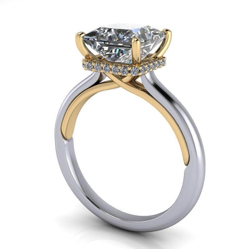 2.39 CTW Princess Cut Forever One Moissanite Engagement Ring-BVD