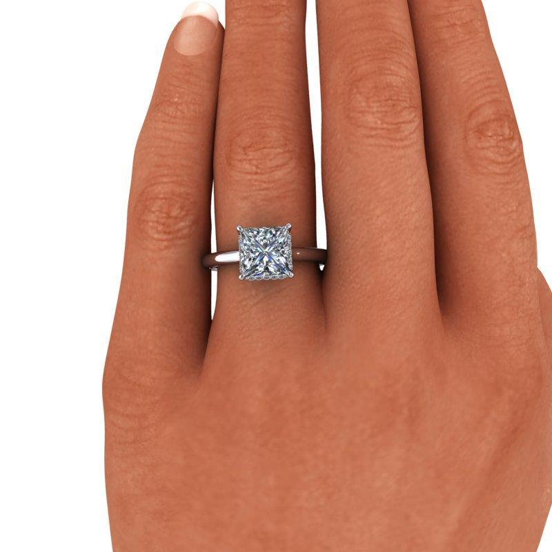 2.39 CTW Princess Cut Forever One Moissanite Engagement Ring-Bel Viaggio Designs