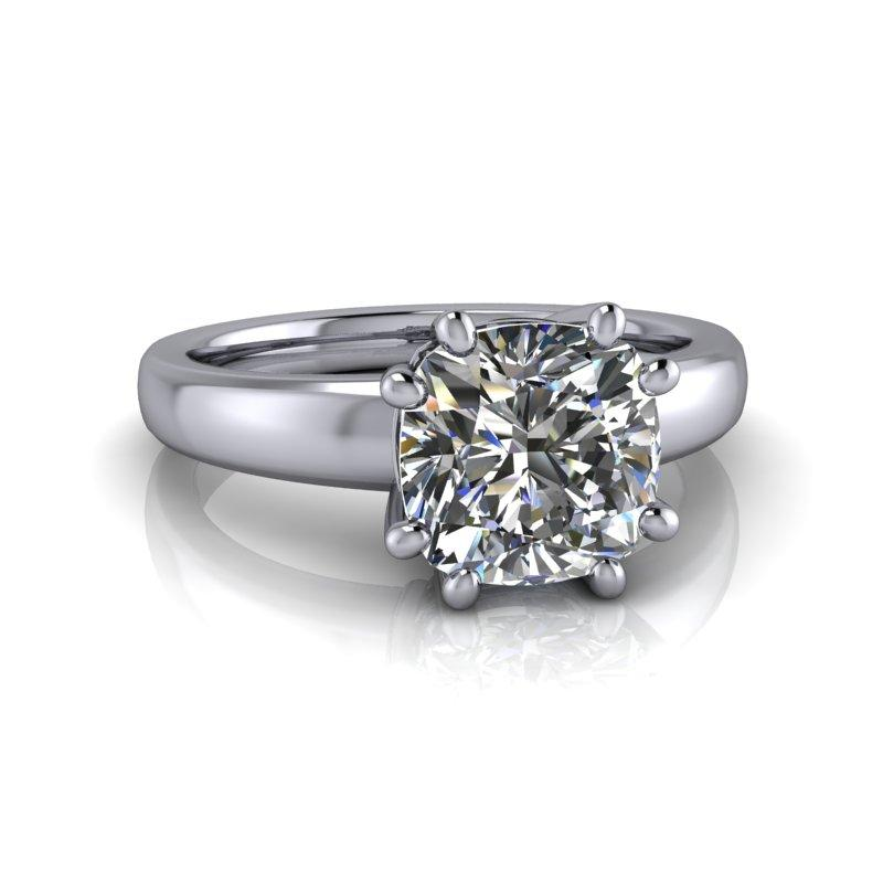 2.40 CTW Cushion Cut Moissanite Engagement Ring, 8-Prong Solitaire Bridal Set-Bel Viaggio Designs