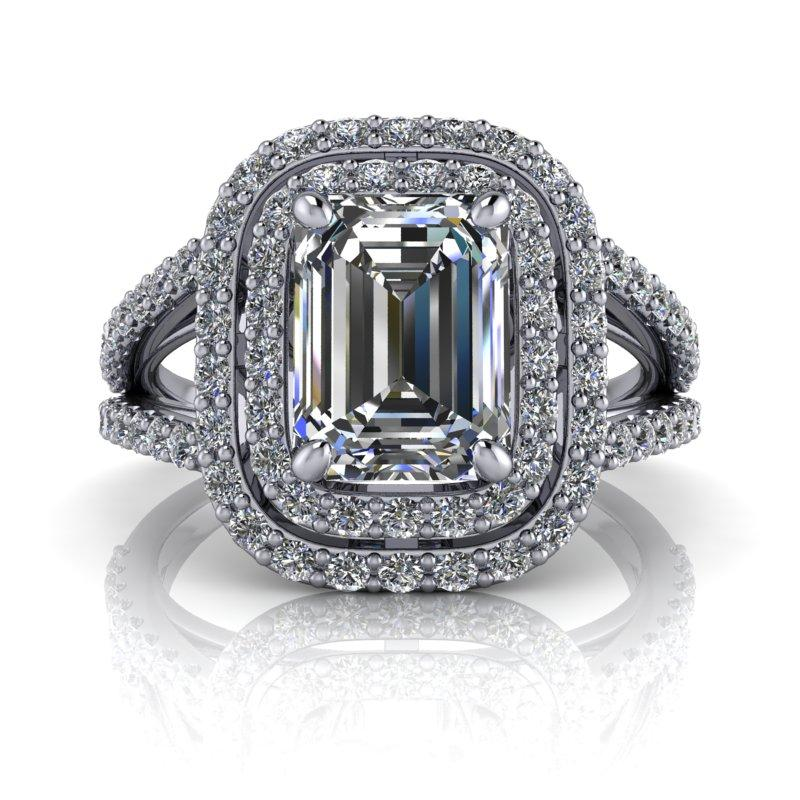 2.40 CTW Emerald Cut Forever One Moissanite Split Shank Halo Engagement Ring-Bel Viaggio Designs, LLC
