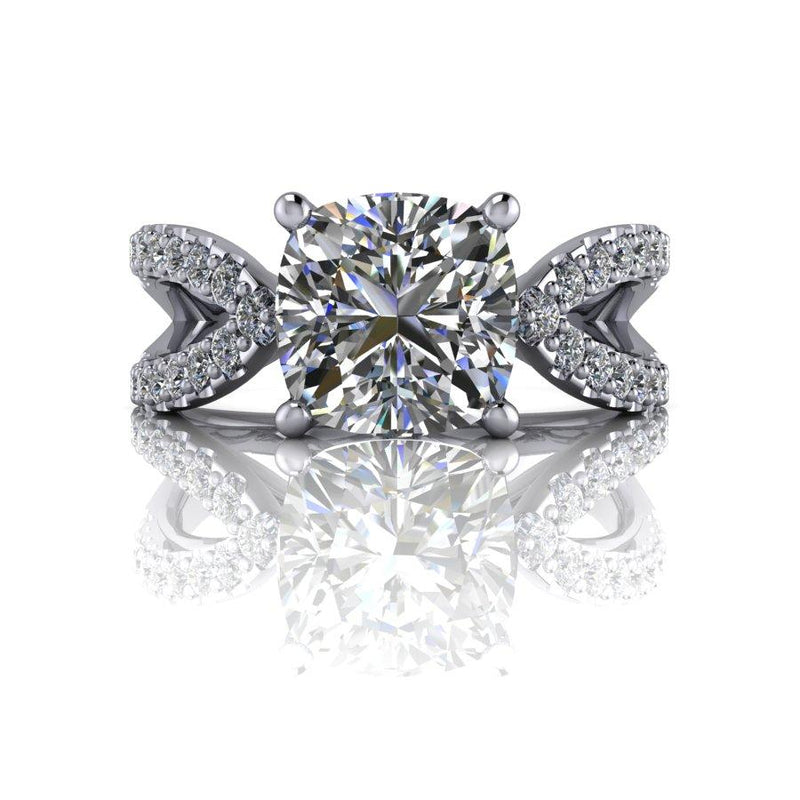 2.40 CTW Split Shank Cushion Cut Moissanite Engagement Ring-Bel Viaggio Designs