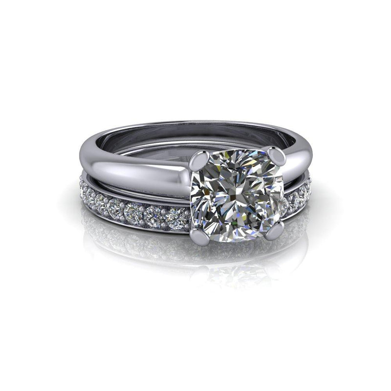 2.42 CTW Charles & Colvard Moissanite Wedding Band and Solitaire Bridal Set-Bel Viaggio Designs