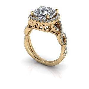 2.42 CTW Forever One Cushion Cut Moissanite Twist Halo Engagement Ring-Bel Viaggio Designs, LLC