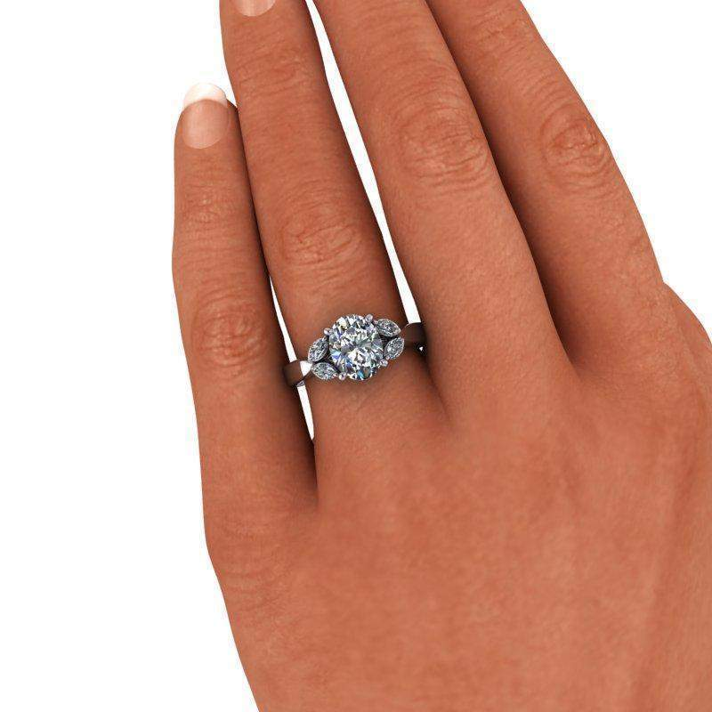 2.42 CTW Oval Colorless Charles & Colvard Moissanite Engagement Ring-Bel Viaggio Designs