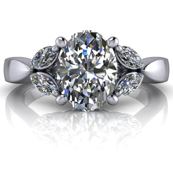 2.42 CTW Marquise and Forever One Oval Colorless Moissanite Engagement Ring-BVD