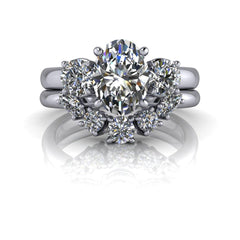 2.42 ctw Oval Forever One Moissanite Engagement Ring/Bridal Set-Bel Viaggio Designs