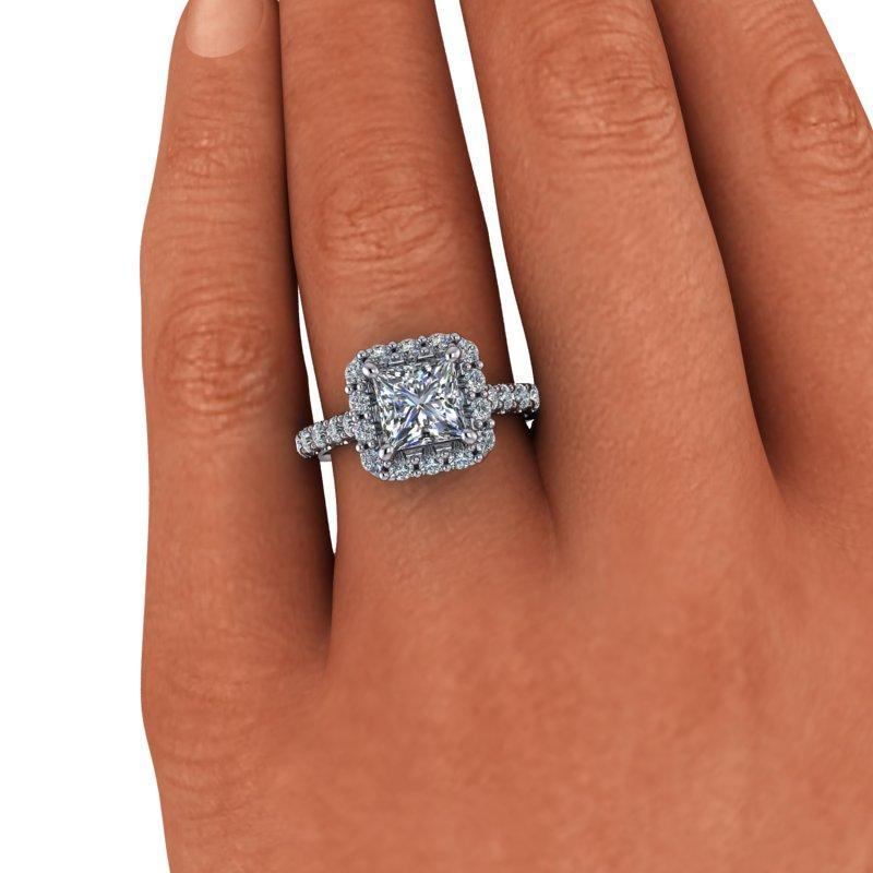 2.42 CTW Princess Cut Forever One Moissanite Halo Ring-Bel Viaggio Designs