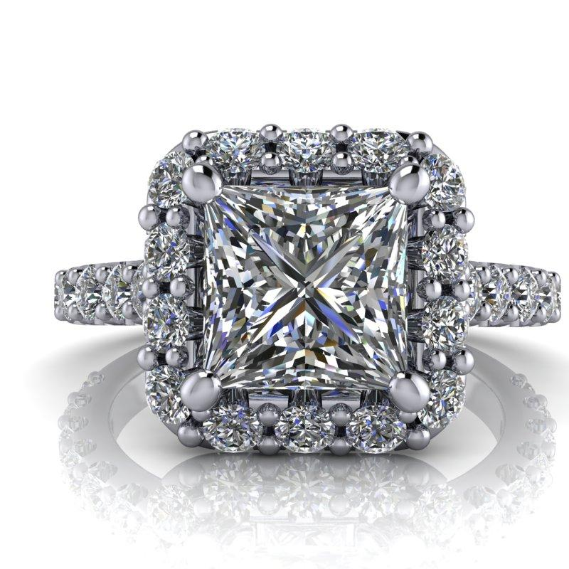 2.42 CTW Princess Cut Forever One Moissanite Halo Ring-Bel Viaggio Designs, LLC