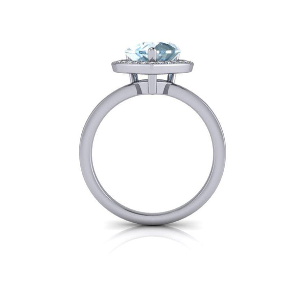 2.43 CTW Heart Shape Engagement Ring, Blue Topaz and Diamonds-Bel Viaggio Designs