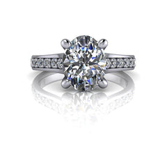 2.43 CTW Oval Moissanite Cathedral, Euro Shank Engagement Ring - Stone Size Option-BVD