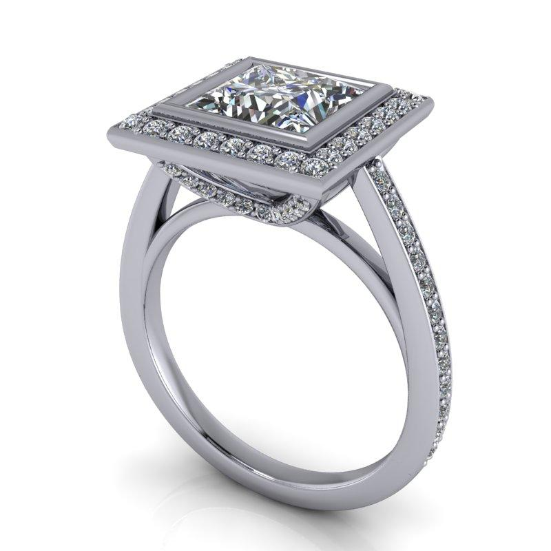 2.43 CTW Princess Cut Forever One Moissanite Halo Engagement Ring-Bel Viaggio Designs, LLC