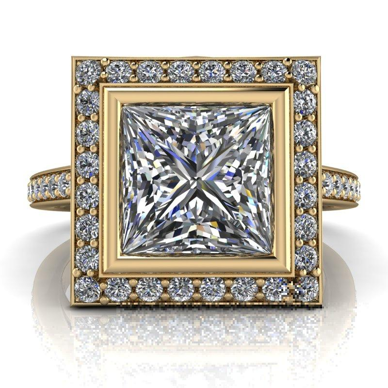 2.43 CTW Princess Cut Forever One Moissanite Halo Engagement Ring-Forever One-Bel Viaggio Designs-Bel Viaggio®
