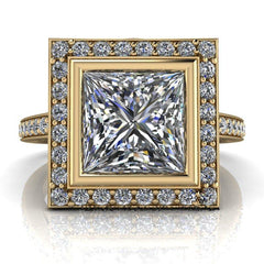 2.43 CTW Princess Cut Forever One Moissanite Halo Engagement Ring-BVD