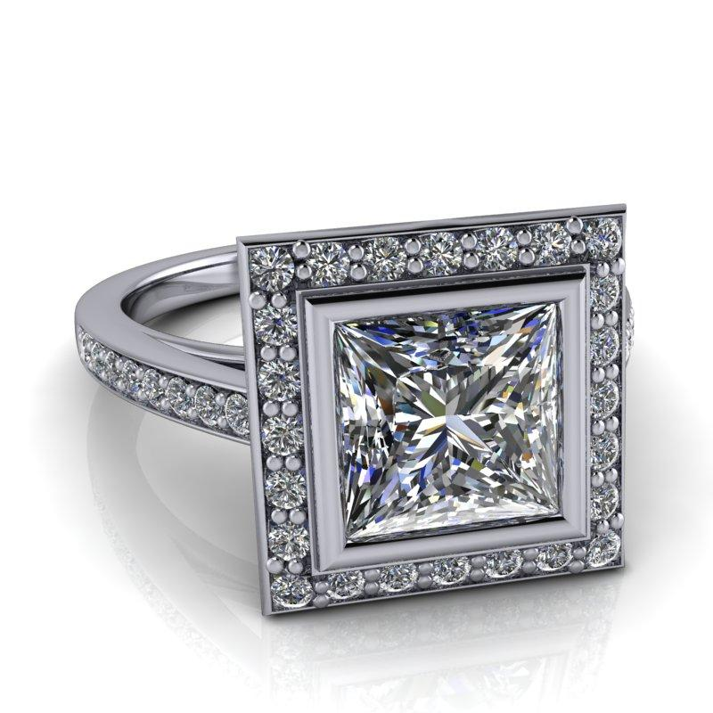 2.43 CTW Princess Cut Forever One Moissanite Halo Engagement Ring-Bel Viaggio Designs