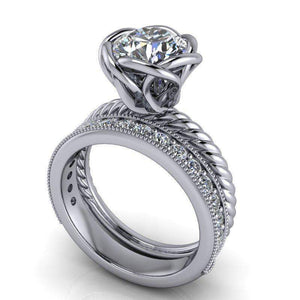 2.44 CTW Forever One Moissanite Engagement Ring, Stacking Wedding Bands-Bel Viaggio Designs, LLC