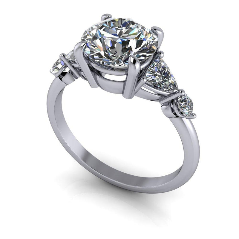2.44 CTW Hearts & Arrows Round Charles & Colvard Moissanite Engagement Ring-Bel Viaggio Designs