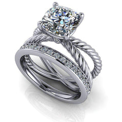 2.46 CTW Cushion Cut Colorless Moissanite Twist Shank Solitaire Bridal Set-BVD