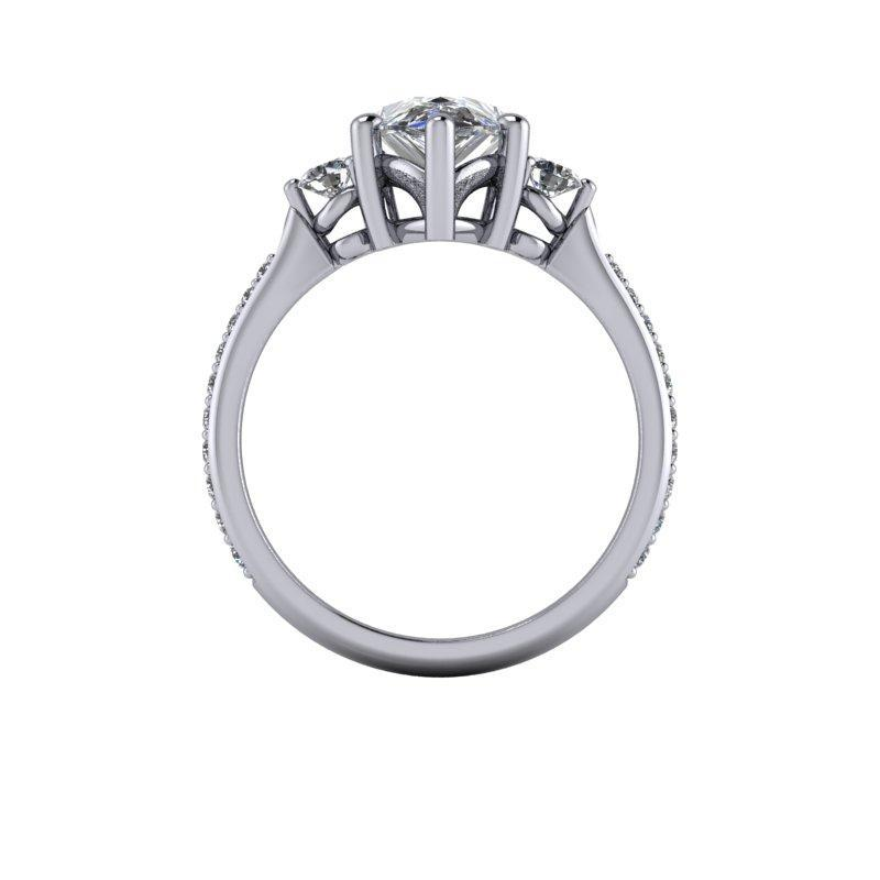 2.47 CTW Pear Forever One Moissanite Three Stone Ring-BVD