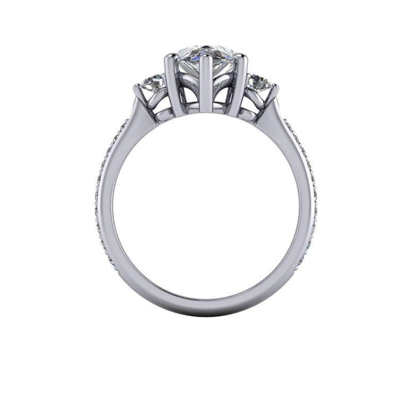 2.47 CTW Pear Forever One Moissanite Three Stone Ring-Bel Viaggio Designs