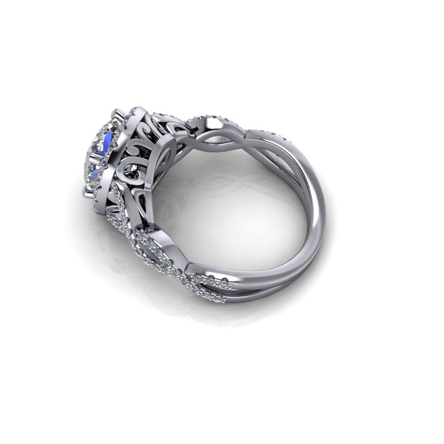 Wedding Website Domain Name Ideas: Forever One Moissanite Cushion Cut Halo Engagement Ring