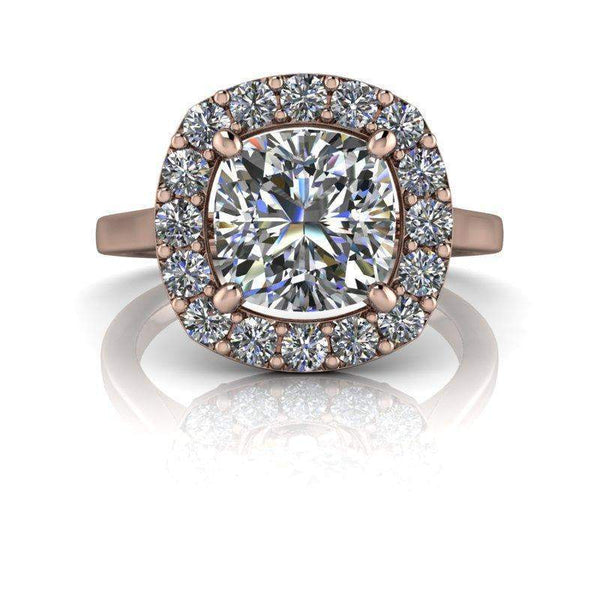 2.48 CTW Halo Engagement Ring - Forever One Colorless Moissanite Engagement Ring-Bel Viaggio Designs