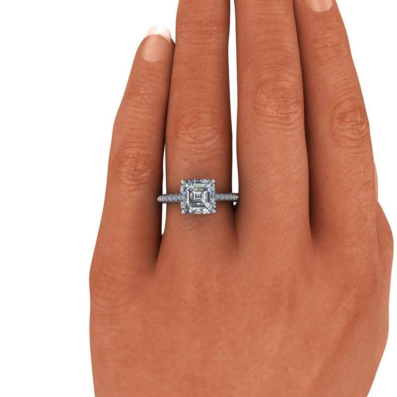 2.49 CTW Asscher Forever One Moissanite Diamond Engagement Ring-Bel Viaggio Designs