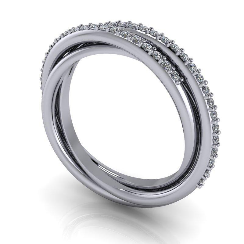 .25 CTW Round Lab Grown Diamond Trinity Twist Wedding Band-Bel Viaggio Designs