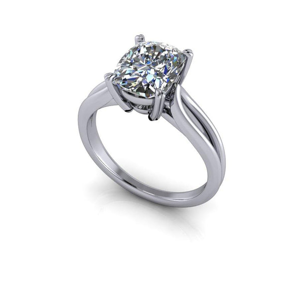 2.50 ctw Elongated Cushion Cut Solitaire Engagement Ring, DEF Color-Bel Viaggio Designs