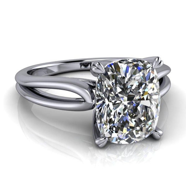 2.50 ctw Elongated Cushion Cut Solitaire Engagement Ring-Bel Viaggio Designs