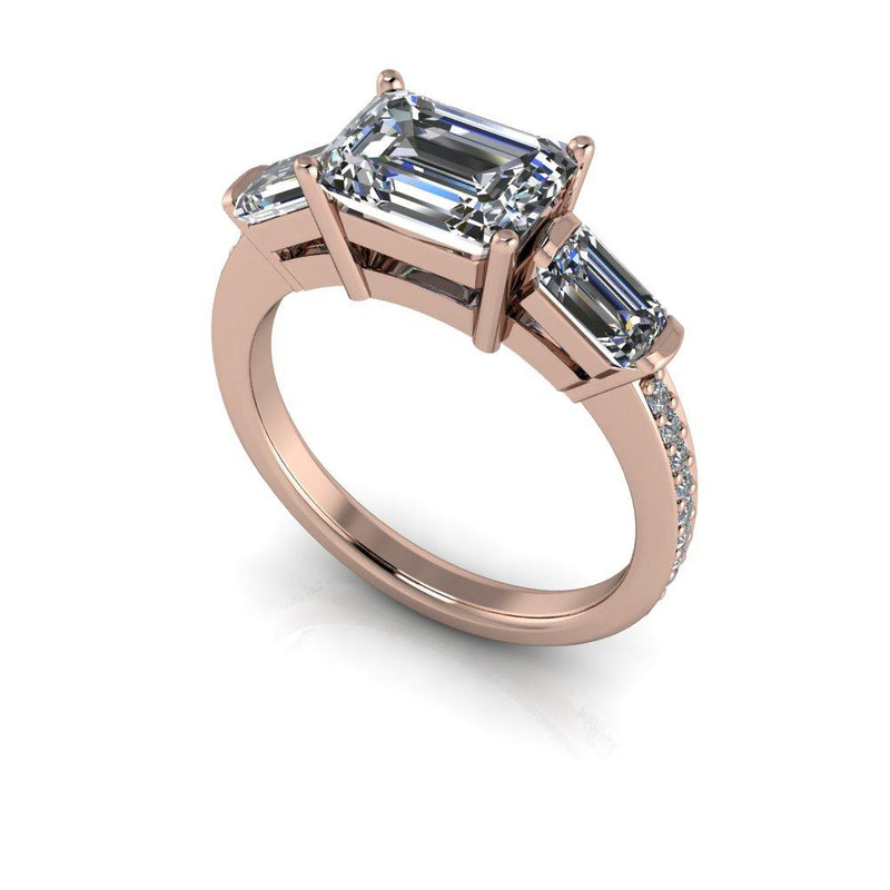 2.50 CTW Emerald Cut Forever One Moissanite Three Stone Ring-Bel Viaggio Designs