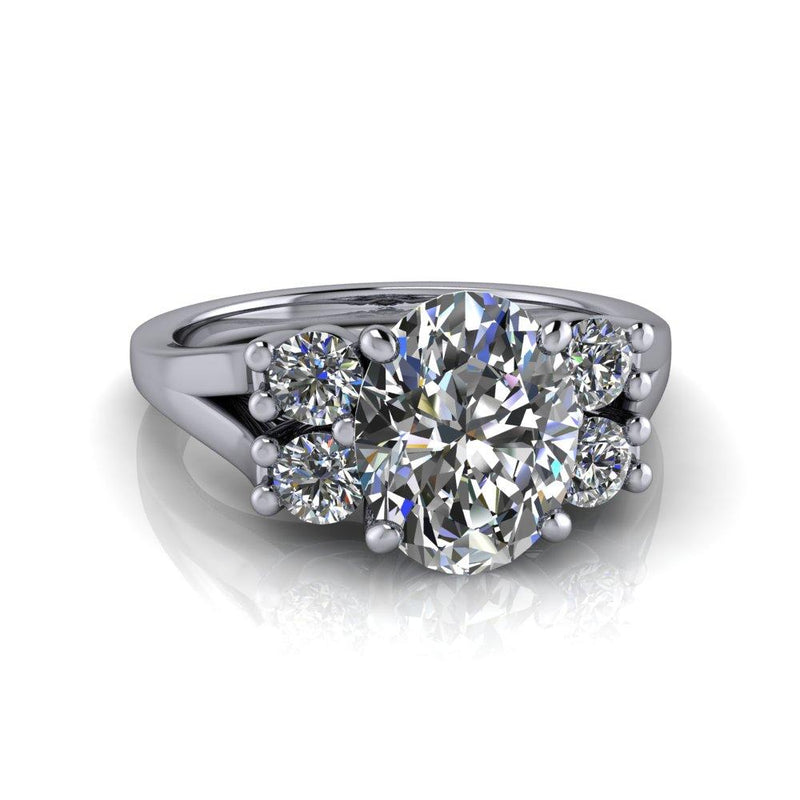 2.50 CTW Five Stone Oval Forever One Colorless Moissanite Engagement Ring-Bel Viaggio Designs