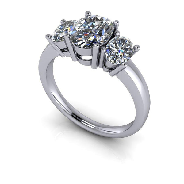 2.50 ctw Oval Forever One Moissanite Three Stone Engagement Ring-Bel Viaggio Designs