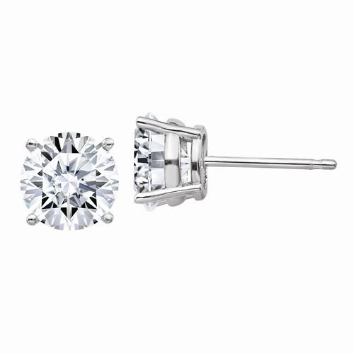 2.50 CTW Round Moissanite Stud Earrings, DEF Color-Bel Viaggio Designs