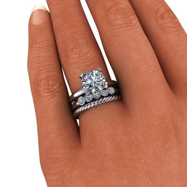 2.50 CTW Round Solitaire Forever One Moissanite Engagement Ring, Bridal Set, Insieme Bridal Stackables®-Bel Viaggio Designs
