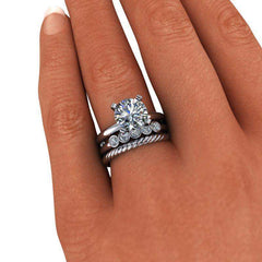 2.50 CTW Round Solitaire Forever One Moissanite Engagement Ring, Bridal Set, Insieme Bridal Stackables®-Insieme-Bel Viaggio Designs-Bel Viaggio®
