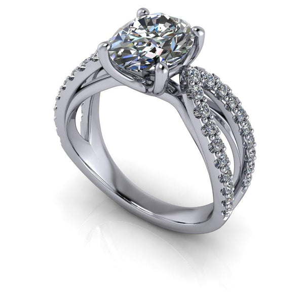 2.50 CTW Split Shank Oval Moissanite Engagement Ring, Center Stone Options-Bel Viaggio Designs