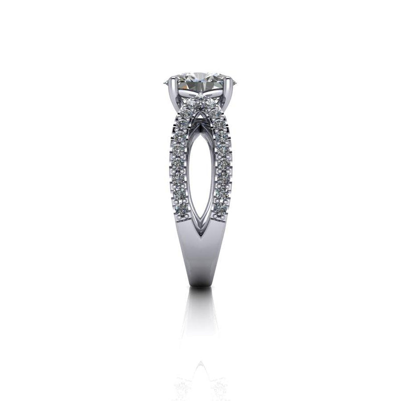 2.50 CTW Split Shank Oval Moissanite Engagement Ring-Bel Viaggio Designs