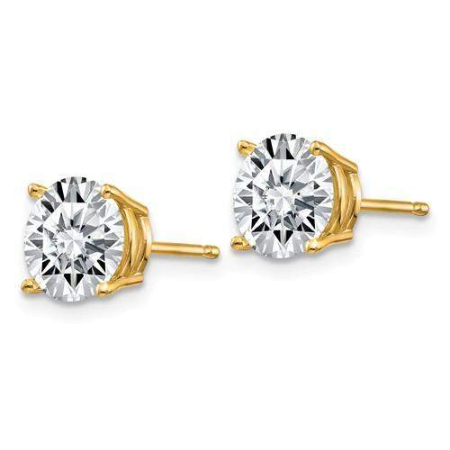 2.50 CTW Stud Earrings - 14kt Gold Round Moissanite 4-Prong Basket Post Earrings 2.50 CTW-Bel Viaggio Designs