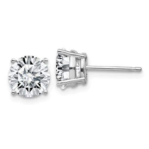 2.50 CTW Stud Earrings - 14kt Gold Round Moissanite 4-Prong Basket Post Earrings 2.50 CTW-BVD