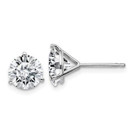 2.50 CTW Stud Martini Earrings - 14kt Gold Round Moissanite 3-Prong Post Earrings-BVD
