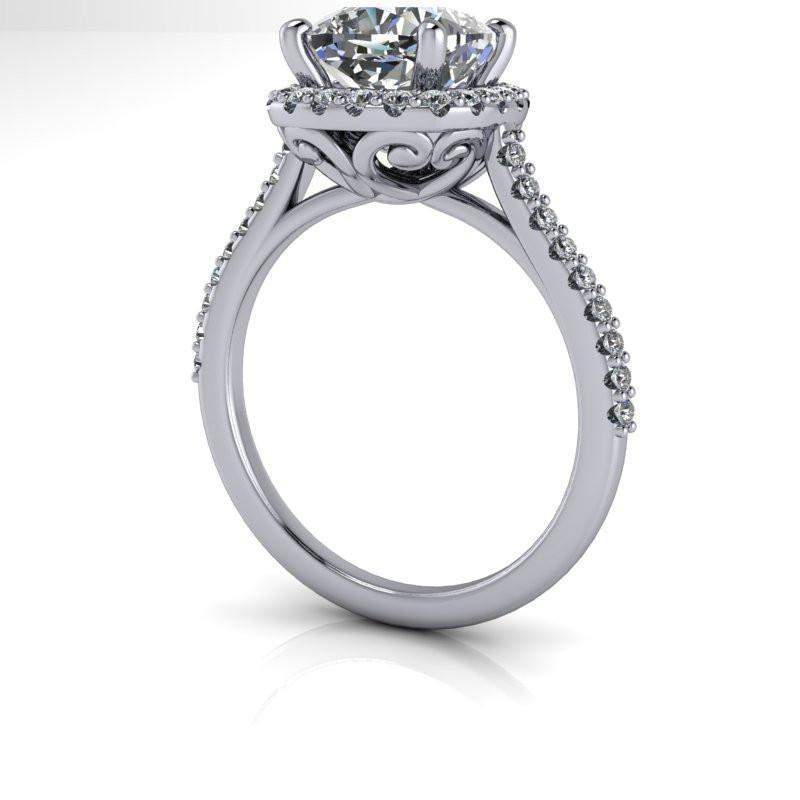 2.51 CTW Vintage Style Forever One Moissanite Halo Engagement Ring/Bridal Set-Bel Viaggio Designs