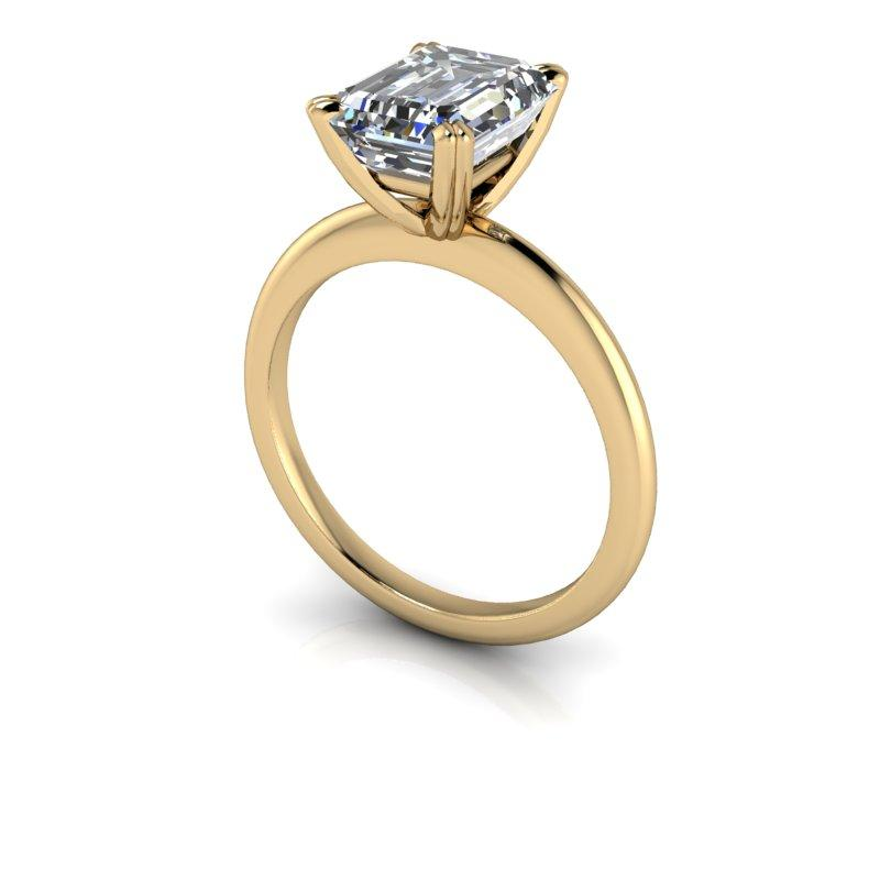 2.52 CTW Emerald Cut Forever One Moissanite Ring, Insieme Bridal Stackables®-Bel Viaggio Designs, LLC