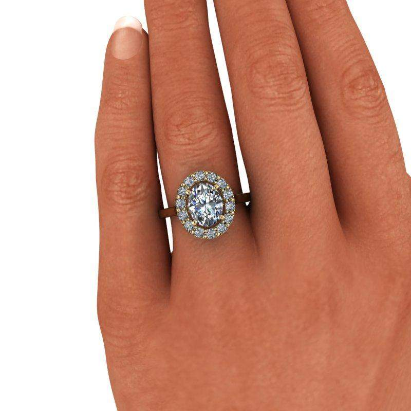 2.52 CTW Oval Halo Engagement Ring Colorless Moissanite Engagement Ring-Bel Viaggio Designs