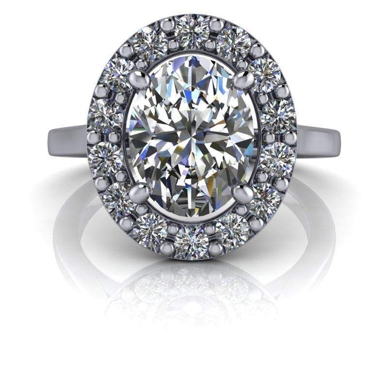 2.52 CTW Oval Halo Engagement Ring - Colorless Moissanite Engagement Ring-Celestial Premier-Bel Viaggio Designs-Bel Viaggio®