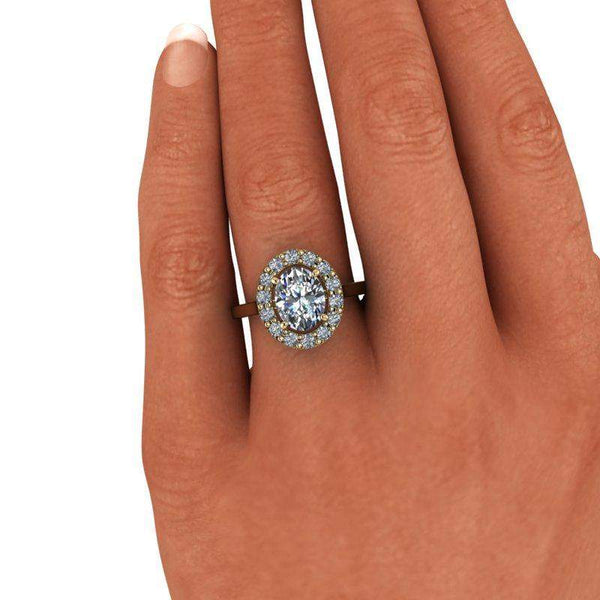 2.52 CTW Oval Forever One Colorless Moissanite Engagement Ring-Bel Viaggio Designs