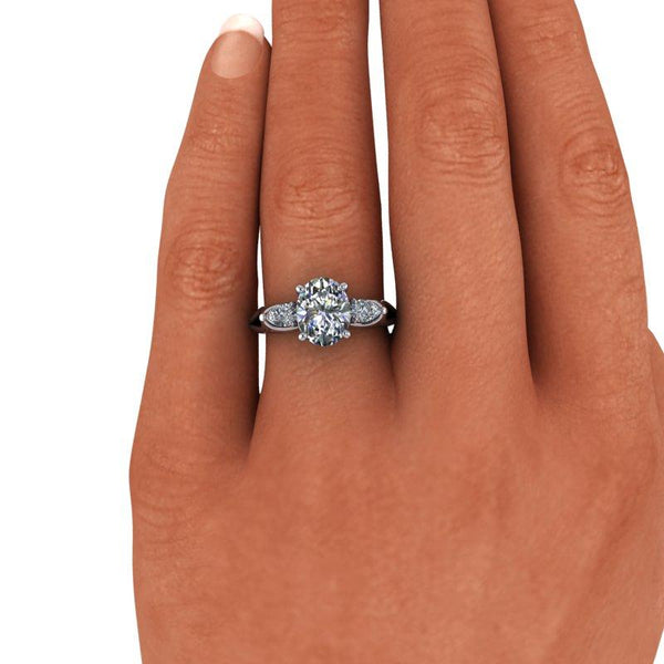 2.52 CTW Oval & Pear Forever One Moissanite Three Stone Ring-Bel Viaggio Designs