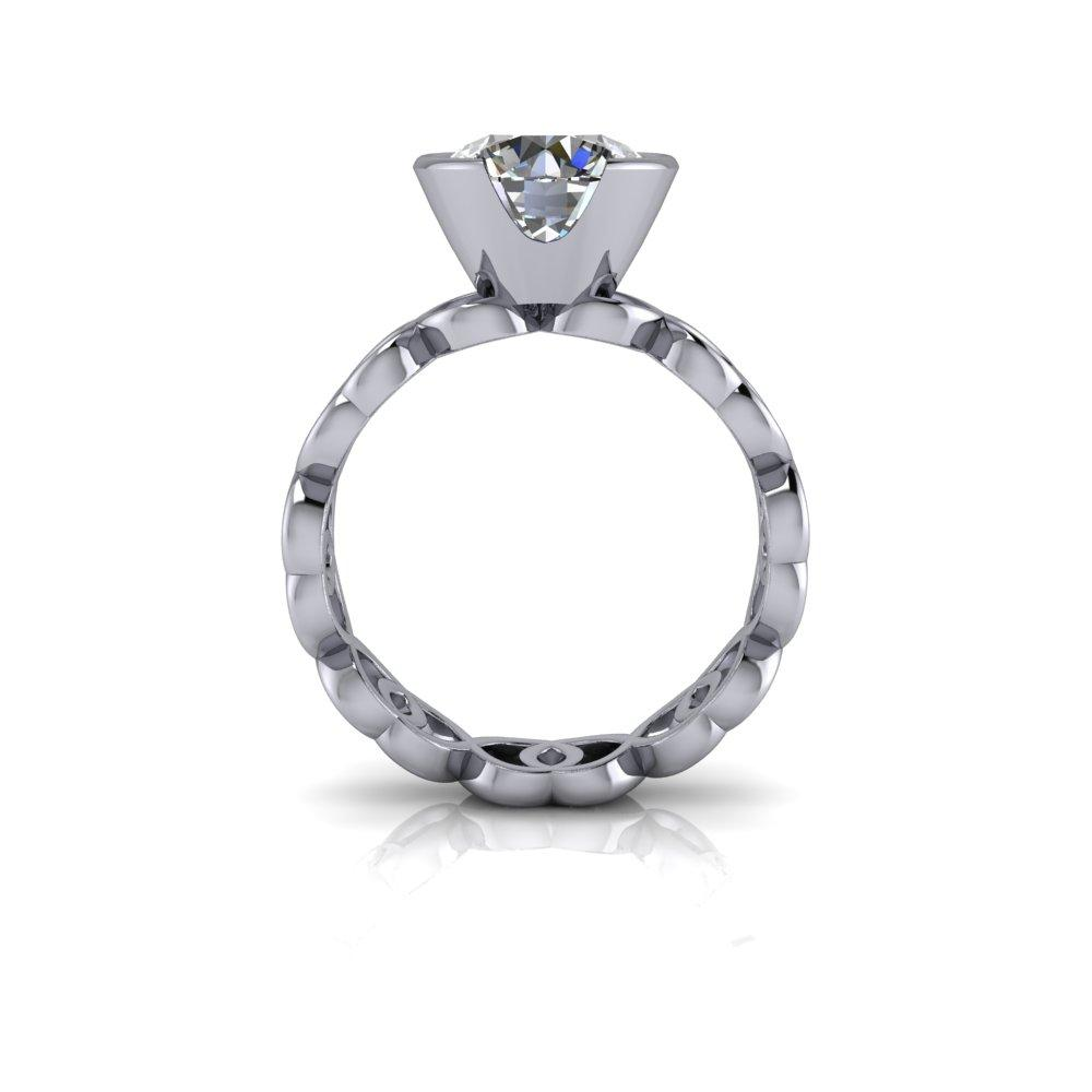 2.53 CTW Moissanite Bezel Set Engagement Ring and Moissanite Wedding Bands-BVD