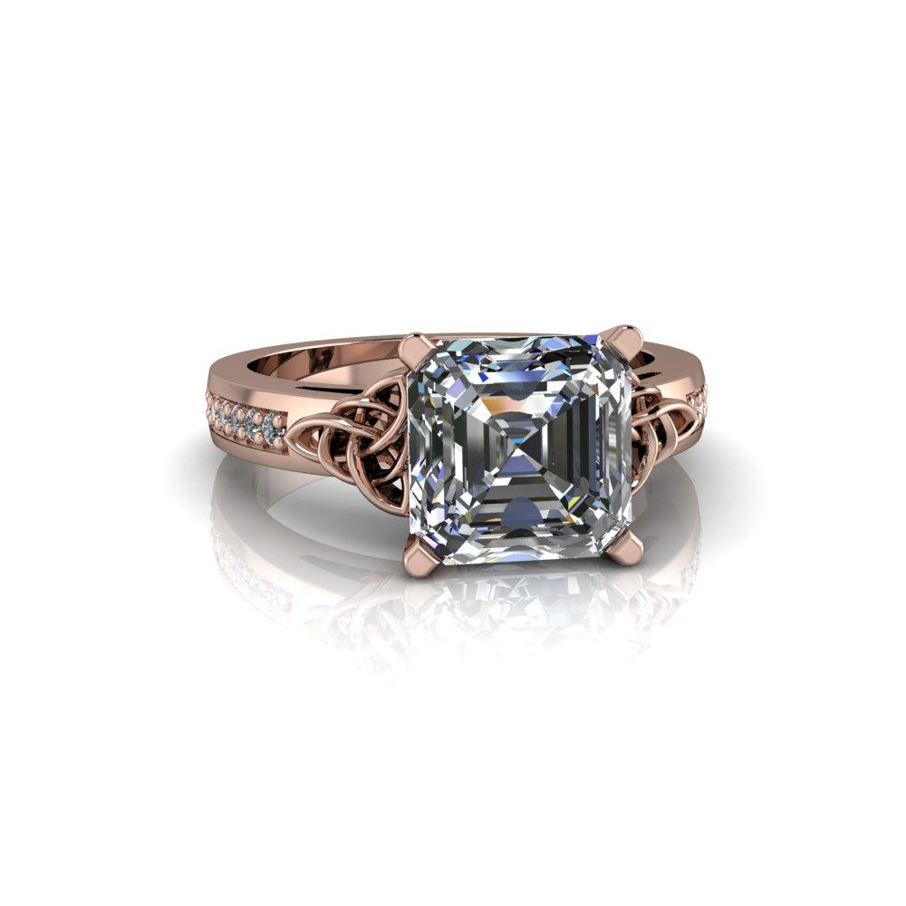 2.54 CTW Asscher Cut Forever One Moissanite Celtic Knot Engagement Ring-Forever One-Bel Viaggio Designs-Bel Viaggio®